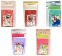 """Поделка для творчества """"Сделай открытку"""" (в наборе - 6 конвертов+6 открыток+украшения) 8 дизайнов"""
