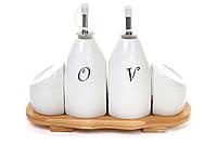 Набор для специй Naturel: 2 бутылочки для масла/уксуса, солонка, перечница на бамбуковой подставке