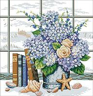 Набор для вышивания счетным крестом Букет цветов у окна 34х35 см (арт. MK040)