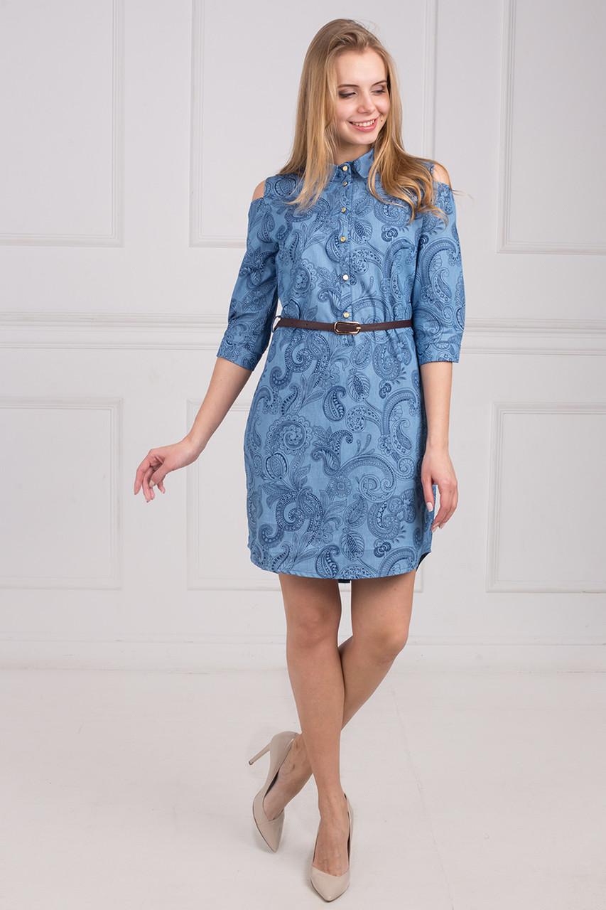 2d505b4e7b3 Летнее молодежное платье-рубашка голубой расцветки из джинса - Оптово-розничный  магазин одежды