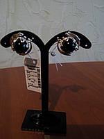 Серебряные серьги с напайками золота и ониксом , фото 1