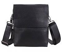 Отличная мужская кожаная сумка-мессенджер черная (Турция)
