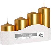 Свечи золотые цилиндры (4шт)