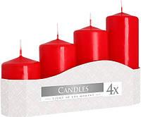 Свеча красная цилиндр (4шт)