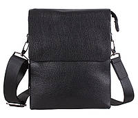 Вместительная мужская кожаная сумка-мессенджер черная (Турция)