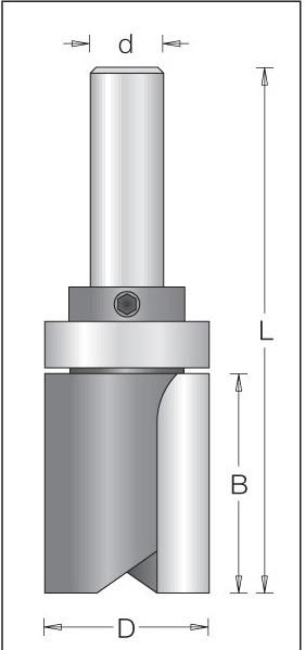 Фреза обгонная для работы по шаблону D = 12,7 мм; В = 25 мм; хвостовик = 6 мм.