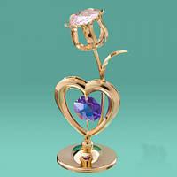 """Фигурка Swarovski """"Сердце и тюльпан"""" цветные кристаллы"""