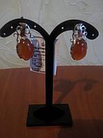 Cеребряные серьги с напайками золота, вставка сердолик