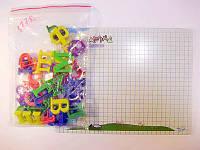 Доска для рисования сухостираемая, магнитная 377R (+буквы, маркер) 19*25 см.