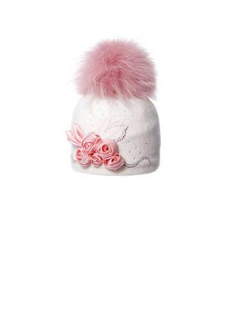 Очаровательная шерстяная шапочка с аппликацией ручной роботы и помпоном, фото 2