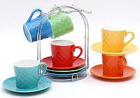 Чайный набор 13 пр на хромированной подставке, микс 6 цветов