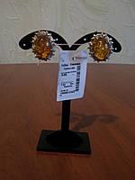 Женские серебряные серьги с янтарём