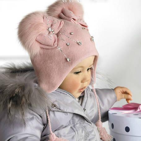 Роскошная шерстяная шапочка ушаночка с аппликацией ручной роботы и помпонами, фото 2