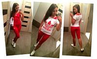 "Летний спортивный костюм  тройка ""adidas""( капри, футболка, майка.)"