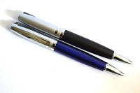 Ручка металлическая поворотная BAIXIN BP909 (серебро+черный/синий)