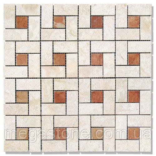Мраморная мозаика МКР-7П VB+RA (полированная) //48*23*6 Desert Oasis + 23*23*6 Rojo Alicante