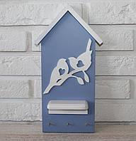 """Ключница настенная деревянная """"Домик с птичкками"""". Подарки в стиле прованс"""