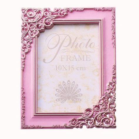 Фоторамка 10х15 розовая (стекло антиблик), фото 2
