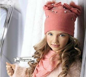 Роскошная шерстяная шапочка с аппликацией ручной роботы и помпонами, фото 2