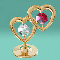 """Фигурка с цветными кристаллами """"2 сердца"""" Swarovski"""