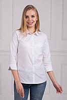 Строгая белая блуза офисная рубашечный воротник