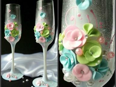 бокалы свадебные цветние. Украина, фото цена