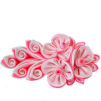 Заколка для волос Цветок Канзаши бело розовая