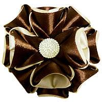 Резинка для волос Канзаши Цветок кремово шоколадный