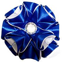 Резинка для волос Канзаши Цветок сине белый