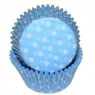Форма бумажная для капкейков голубая в горошек