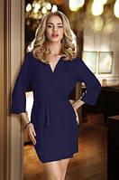 Женский короткий халатик синего цвета с поясом Lucy Eldar.
