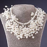 Ожерелье на леске из жемчужных бусин (пластик)