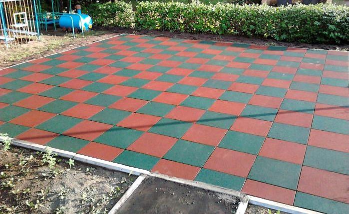 Резиновая плитка  для дачи и сада (толщина 20 мм, размеры 1000 на 1000 мм) - Компания ДАОС КОМПОЗИТ в Харькове
