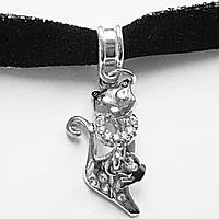 """Черный чокер с подвеской """"Модная кошечка"""" (ювелирный сплав, кристаллы)."""