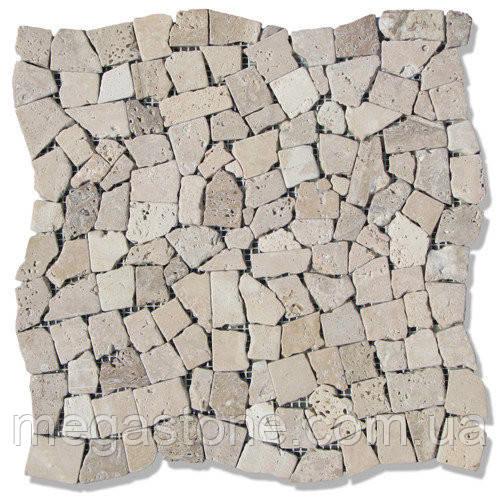 Мраморная мозаика МКР-Х С6 (старенная/валтованная) Travertine Classik Beige