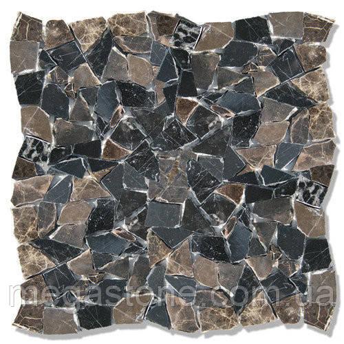Мраморная мозаика хаотичная МКР-ХС (старенная/валтованная) Dark Mix