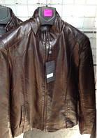 Модная мужская куртка из Эко кожи коричневая, размеры 48-52