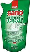 Средство для мытья стекол и зеркал Sano Clear Green Запаска, 750 мл.,Израиль