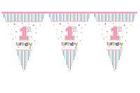 Гирлянда-флажки Мой первый день рождения 1 годик девочка