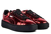 Красные  стильные кроссовки  Puma Basket Platform Metallic Sneakers High Risk Red00