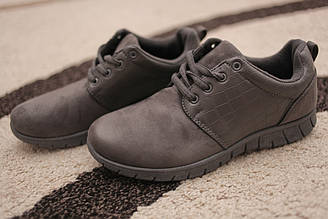 Женские кроссовки из алькантары серого цвета замша Gray 36-37