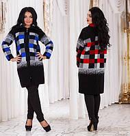 Женское весеннее пальто плотной вязки батал