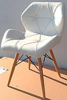 Стул Стар на деревянных ножках цвет бук натуральный, сиденье из белого кожзама прострочка по всей поверхности