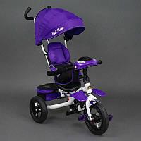 .Велосипед 3-х колёсный 6699 Best Trike (1) ФИОЛЕТОВЫЙ БЕЛАЯ РАМА, надувные колёса, поворотное сидение, фара, ключ зажигания