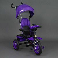 .Велосипед 3-х колёсный 6699 Best Trike (1) ФИОЛЕТОВЫЙ ЧЕРНАЯ РАМА, надувные колёса, поворотное сидение, фара, ключ зажигания