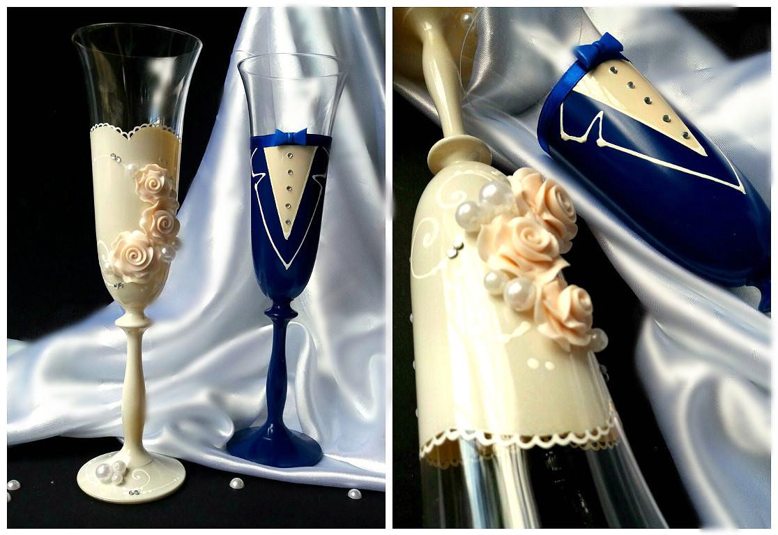 Бокалы свадебные (под платье айвори и синий костюм) ТЛ-406