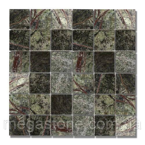 Мраморная мозаика МКР-3П (полированная) 48*48*6 Bidasar Green