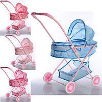 Кукольная коляска металлическая, прогулочная, корзинка, козырек