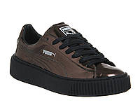 Кроссовки женские Puma Basket Platform Metallic Sneakers bronze. пума баскет платформ, обувь интернет магазин