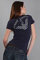 Красивая женская футболка с надписью на спине (реплика) Armani синего цвета